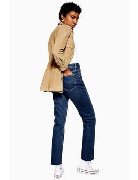 Indigo Raw Hem Straight Leg Jeans by Topshop