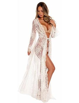Venu Star Womens Long Embroidered Lace Kimono Cardigan With Half Sleeves by Ran Rui
