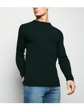 Green Ribbed Muscle Fit Crew Jumper by New Look
