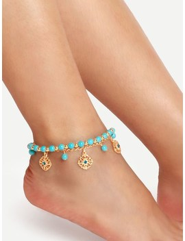 Turquoise Tassel Boho Anklet by Sheinside