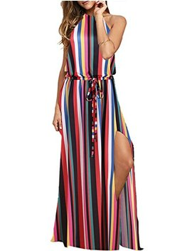 Blooming Jelly Women's Halter Backless Tie Back Drawstring Waist Tie Dye Split Summer Vacation Maxi Dress by Blooming Jelly