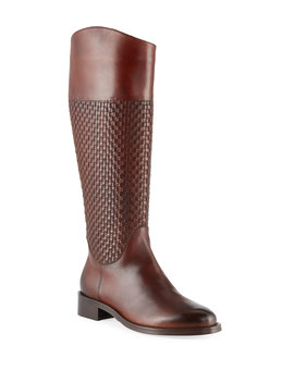 Zelima Woven Leather Knee Boots by Sesto Meucci