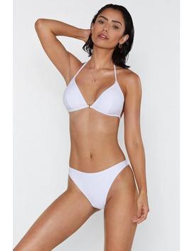 'tis The Sea Son T Back Textured Bikini Top by Nasty Gal
