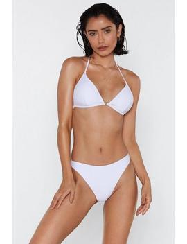 'tis The Sea Son High Leg Textured Bikini Bottom by Nasty Gal