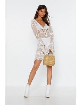 Crochet It Forward Lace Up Mini Dress by Nasty Gal
