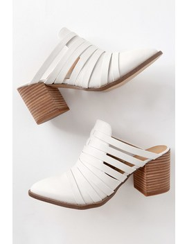 Tommy White Pointed Toe Mules by Report
