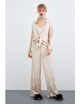 Creased  Effect Jumpsuit Editorial Spring Trends Trf by Zara