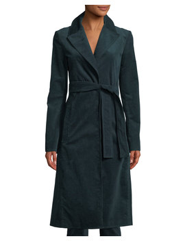 Cinched Belted Oslo Corduroy Trench Coat by Theory