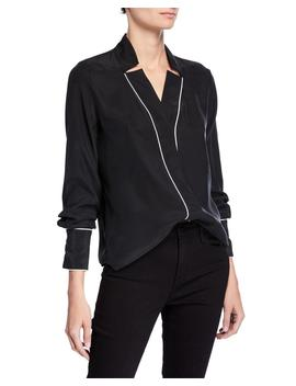 Notch Collar Silk Blouse With Piping by Frame