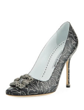 Hangisi 10th Anniversary Love Leather Pumps by Manolo Blahnik