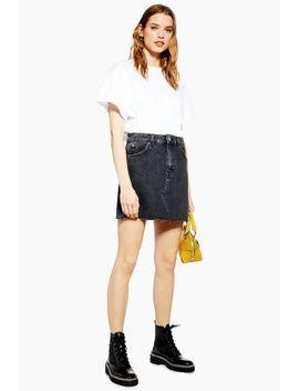 Washed Black Denim Mini Skirt by Topshop