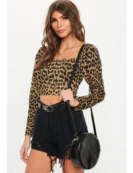 Petite Brown Leopard Print Puff Sleeve Top by Missguided