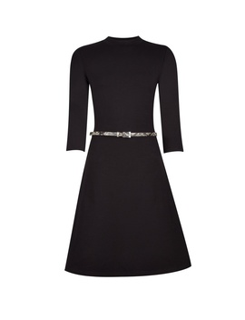 Black 3/4 Sleeve Fit And Flare Dress by Dorothy Perkins