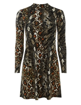 Petite Snake Print Fit And Flare Dress by Dorothy Perkins