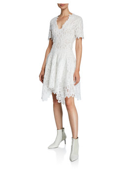 V Neck Threaded Lace Ruffle Dress by Jonathan Simkhai