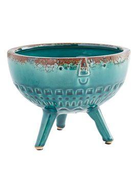 Turquoise Glazed Face Vase by Pier1 Imports