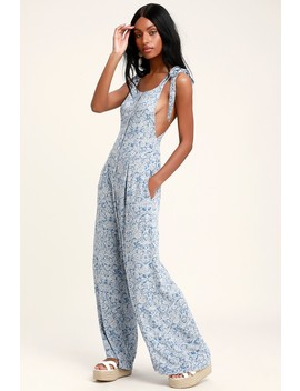 Sugar Sands Blue Print Wide Leg Overalls by Free People