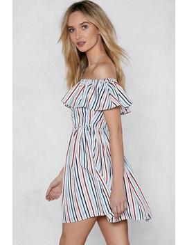 Give 'em The Shoulder Striped Dress by Nasty Gal