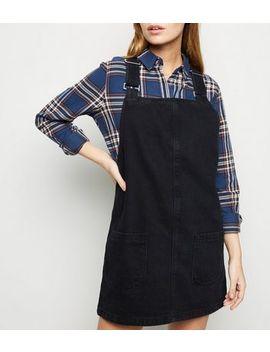 Petite Black Buckle Denim Pinafore Dress by New Look