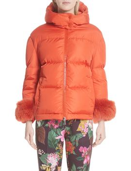 Effraie Hooded Down Coat With Removable Genuine Fox Fur Cuffs by Moncler