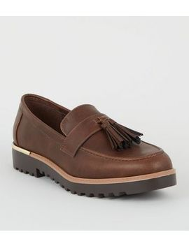 Dark Brown Tassel Front Chunky Sole Loafers by New Look