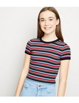 Girls Blue Multi Stripe Ribbed Ringer T Shirt by New Look