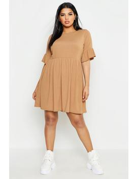 Plus Rib Ruffle Sleeve Smock Dress by Boohoo