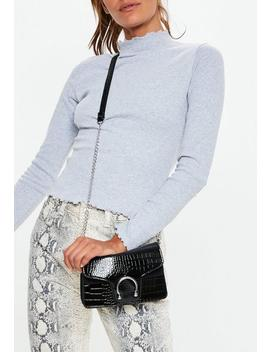 Black Patent Croc Detail Mini Cross Body Bag by Missguided