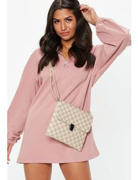 Cream Checked Flat Cross Body Bag by Missguided