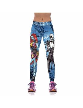 Chitop Halloween Jack Skellington Leggings Women   The Nightmare Before Christmas Plus Size Pants Digital Print Fitness Leggins (Wkyk1001) (L) by Chitop