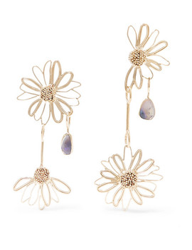 Gold Tone Opal Earrings by Stvdio