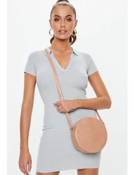 Nude Round Croc Cross Body Bag by Missguided