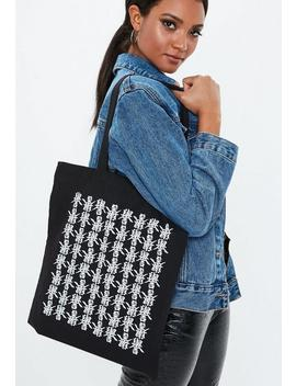 Black Printed Detail Canvas Shopper by Missguided