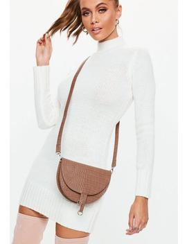 Mocha Mini Ring Detail Cross Body Bag by Missguided