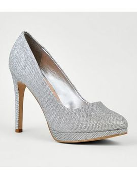Silver Platform Pointed Stiletto Court Shoes by New Look