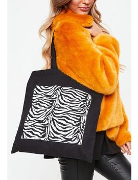 Black Zebra Print Canvas Shopper by Missguided