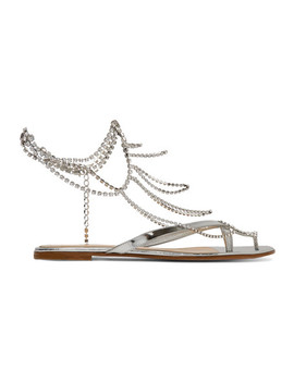 Tennis Crystal Embellished Mirrored Leather Sandals by Gianvito Rossi