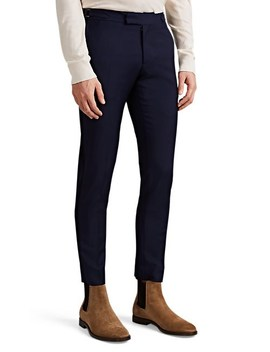 Striped Wool Mohair Slim Trousers by Brooklyn Tailors