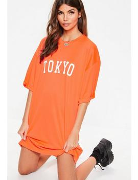 Neon Orange Tokyo Oversized T Shirt Dress by Missguided