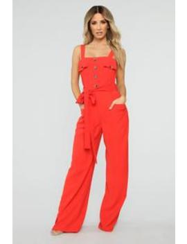 Janeska Wide Leg Jumpsuit   Tomato Red by Fashion Nova
