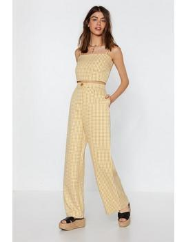 Box To The Drawing Board Gingham Wide Leg Pants by Nasty Gal