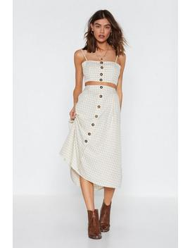 Two Times The Charm Gingham Crop Top And Midi Skirt Set by Nasty Gal