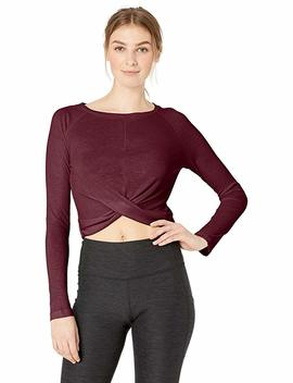 Core 10 Women's Lightweight Semi Sheer Rib Knit Yoga Knot Front Cropped Long Sleeve by Core 10