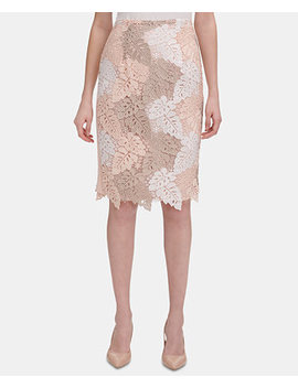 Colorblocked Lace Pencil Skirt by Calvin Klein