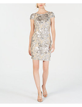 Sequined Flower Cowl Back Dress by Calvin Klein