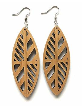 Grounded Goods Design Pinched Oval Wood Earrings by Grounded Goods Design