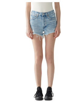 Parker Vintage Frayed Hem Denim Shorts by Agolde