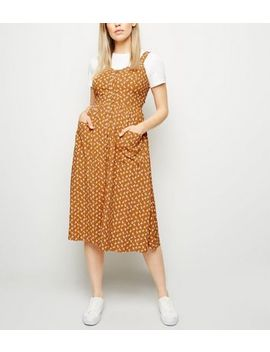 Mustard Floral Button Front Midi Dress by New Look