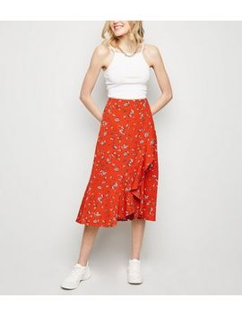 Brave Soul Red Floral Wrap Midi Skirt by New Look
