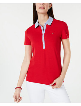 Short Sleeve Chambray Trim Polo Shirt, Created For Macy's by Tommy Hilfiger